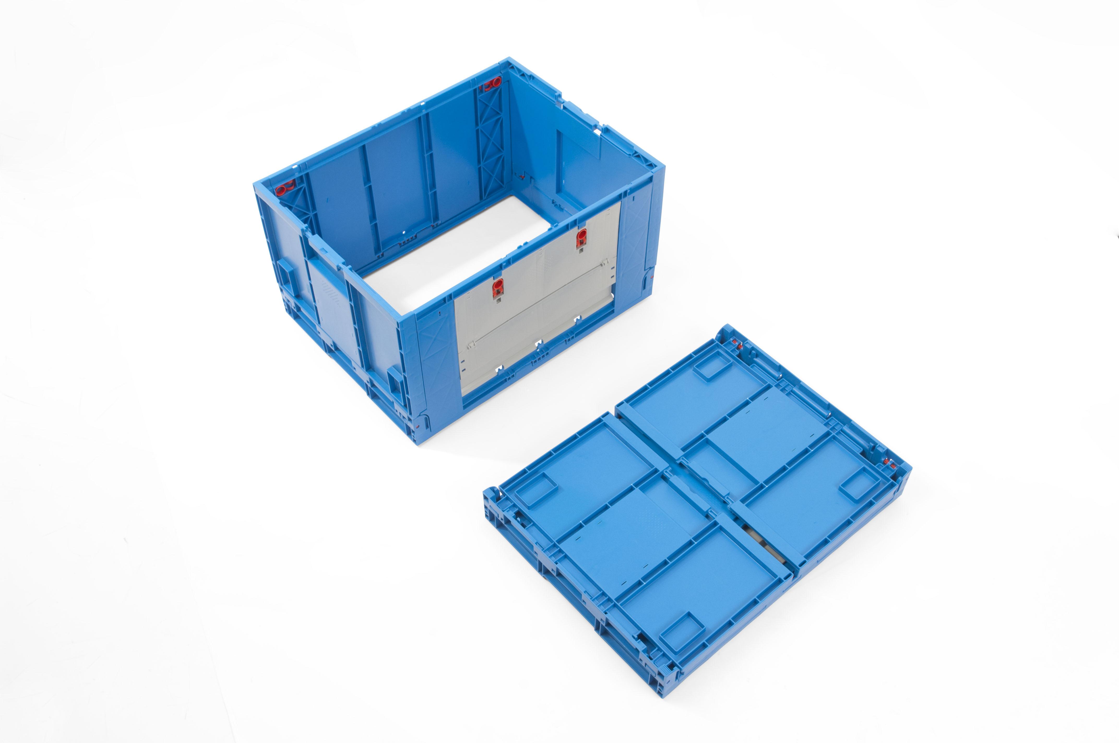 Caixa de plastico rebativel azul sem fundo com portas para for Baules plastico para exterior